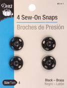 Size 4 4/Pkg - Black Sew-On Snaps