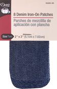 """Dark Blue Denim - Iron-On Patches 2""""X3"""" 8/Pkg"""