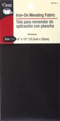"Black - Iron-On Mending Fabric 3-1/4""X8"" 1/Pkg"