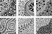 """Doodles - Artist's Paintstiks Rubbing Plates 7.125""""X7.125"""" 6/Pkg"""