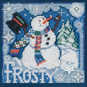 "5""X5"" 14 Count - Frosty Snowman Winter Buttons & Beads Counted Cross Stitch K"