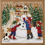 """5""""X5"""" 14 Count - Snow Day Winter Buttons & Beads Counted Cross Stitch Kit"""