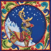 """5""""X5"""" 18 Count - Jim Shore Reindeer Counted Cross Stitch Kit"""