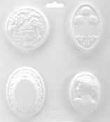 """4 Cavity - Cameo Collection - Soapsations Soap Mold 8""""X9"""""""