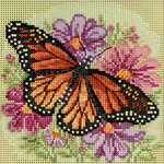"5""X5"" 14 Count - Winged Monarch Spring Buttons & Beads Counted Cross Stitch K"