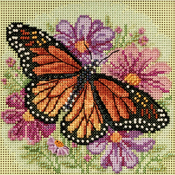 """5""""X5"""" 14 Count - Winged Monarch Spring Buttons & Beads Counted Cross Stitch K"""