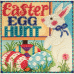 """5""""X5"""" 14 Count - Egg Hunt Spring Buttons & Beads Counted Cross Stitch Kit"""