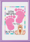 """5""""X7"""" 14 Count - Special Moments Baby Footprints Mini Counted Cross Stitch Ki"""