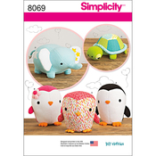 ONE SIZE - SIMPLICITY STUFFED PENGUINS, TURTLE AND ELEPHANT