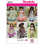 ONE SIZE - SIMPLICITY VINTAGE INSPIRED 18 DOLL CLOTHES