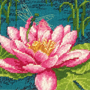 "5""X5"" Stitched In Thread - Dragon Lily Mini Needlepoint Kit"