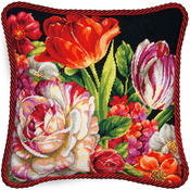 "14""X14"" Stitched In Thread - Bouquet On Black Needlepoint Kit"