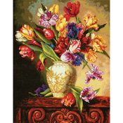 """12""""X15"""" 18 Count - Gold Collection Parrot Tulips Counted Cross Stitch Kit"""