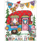 """6.75""""X8.75"""" 14 Count - Happy Camper Counted Cross Stitch Kit"""