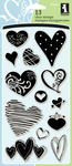 "Hearts - Inkadinkado Clear Stamps 4""X8"""