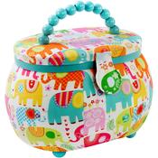 Elephants Print - Sewing Basket Oval