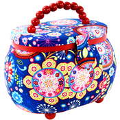 Funky Floral Print - Sewing Basket Oval