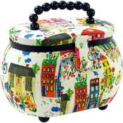 Colorful Building Print - Sewing Basket Oval