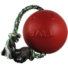 Red - Romp-N-Roll 8 inches Jolly Pets-Romp N Roll. This ball can be punctured and will not deflate. It is designed to be kicked, tugged, thrown, carried and launched! The rope can be pulled back and forth through the ball, but never comes out. This package contains one dog toy with a 8 inch ball and rope. Comes in a variety of colors. Each sold separately. Non-toxic. Made in USA.