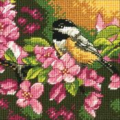 "5""X5"" Stitched In Thread - Chickadee In Pink Mini Needlepoint Kit"