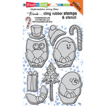 "Winter Friends - Stampendous Cling Stamps & Stencil 5""X7"""