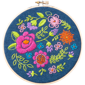 """6"""" Round - Floral Explosion Stamped Embroidery Kit"""