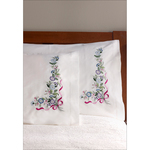 "Blue & Violet Bouquet - Stamped Embroidery Pillowcase Pair 20""X30"""