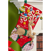 "18"" Long - Ornamental Deer Stocking Felt Applique Kit"
