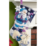 "18"" Long - Arctic Santa Stocking Felt Applique Kit"