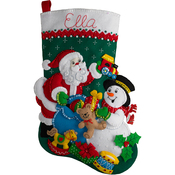 "18"" Long - Santa & Snowman Stocking Felt Applique Kit"