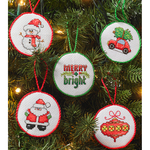 """2.5"""" Round 14 Count Set Of 30 - Christmas Minis Ornaments Counted Cross Stitch Kit"""