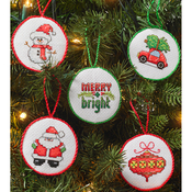 "2.5"" Round 14 Count Set Of 30 - Christmas Minis Ornaments Counted Cross Stitch Kit"