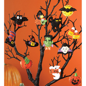 "3""X2"" Set Of 12 - Halloween Ornaments Set Felt Applique Kit"