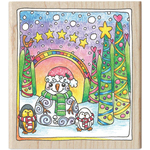 """Snowman - Color Me Mounted Rubber Stamp 3.5""""X4"""""""