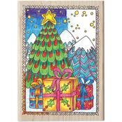 """Christmas Tree - Color Me Mounted Rubber Stamp 3.5""""X5"""""""