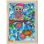 "Christmas Owl - Color Me Mounted Rubber Stamp 3.5""X5"""