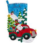 "18"" Long - The Christmas Drive Stocking Felt Applique Kit"