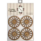 "Wagon Wheels, 2.5"" - Designs By Shellie Wood Embellishments 4/Pkg"