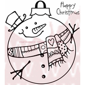 "Large Snowman Bauble - Woodware Clear Stamps 3.5""X3.5"""