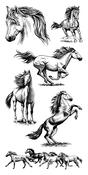 "Horses - Inkadinkado Clear Stamps 4""X8"""