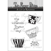 "Tea Cups 2 - Two Paper Divas Clear Stamps 6""X4.5"""