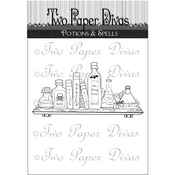 "Potions & Spells - Two Paper Divas Clear Stamps 6""X4.5"""