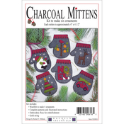 "4""X4.5"" - Charcoal Mittens Ornament Kit 6/Pkg"