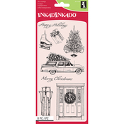 """Home For Christmas - Inkadinkado Clear Stamps 4""""X8"""""""