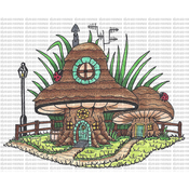 "House With Shed - Riley & Company Mushroom Lane Cling Stamp 4.25""X3"""