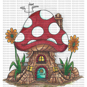 "Polkadot House - Riley & Company Mushroom Lane Cling Stamp 3.5""X4.25"""