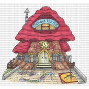 "School House - Riley & Company Mushroom Lane Cling Stamp 4""X3.75"""