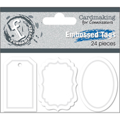 """1.5"""" White - Fundamentals Embossed Tags 24/Pkg"""