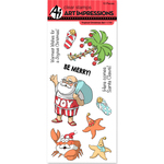 "Tropical Christmas - Art Impressions Christmas Cling Rubber Stamp Set 8""X4"""