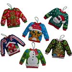 6/Pkg - Ugly Sweater Ornaments Felt Applique Kit